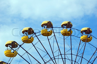 Detail of abandoned ferris wheel in amusement park in Pripyat, Chernobyl area