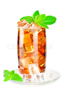 Glass of iced tea with ice cubes and mint on white background