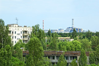 View on lost and abandoned city Pripyat and Chernobyl nuclear power station