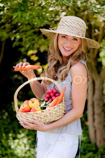 Fruit and vegetables in the basket with his wife