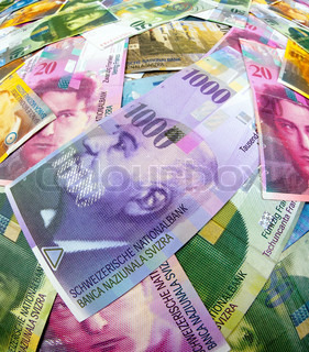 Many Swiss franc banknotes of Switzerland in Europe