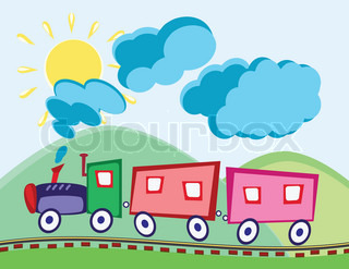 Steam locomotive and wagons in animated cartoon childish style
