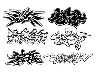 Set of 6 graffiti sketches isolated on white