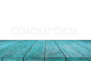 Superbe Blue Wood Table Top On White Background