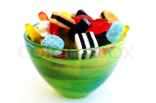 Delicious sweet candy in glass bowl.