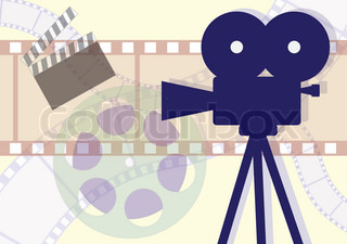 Movie Camera, clapboard and films collage