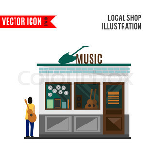 music shop icon isolated on white background vector illustration for musical design retail. Black Bedroom Furniture Sets. Home Design Ideas
