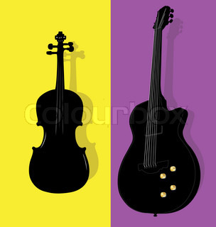 Vector illustration of violin and guitar contours