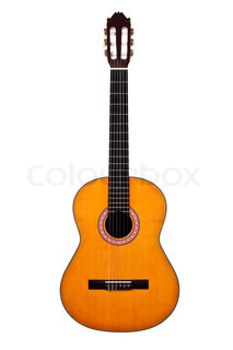 Classical acoustic guitar isolated on white background