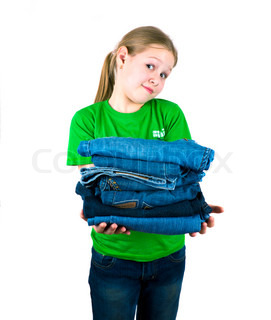 Girl with a pile of jeans