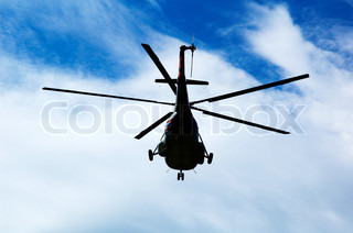 Helicopter, sky and clouds - Russian helicopter Mi-8