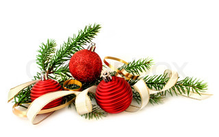 Red Christmas balls, ribbon and green branch on white background