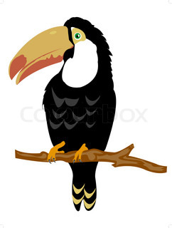 Illustration of the bird sitting on branch on white background