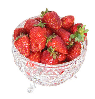 Strawberry in a crystal vase. It is isolated.