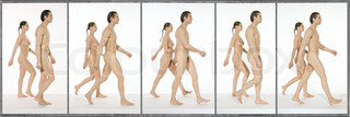 Nude man and woman walking together, full length, image sequence