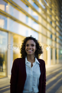 Image of 'foreground in focus, office building, business attire'