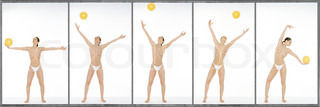 Semi-nude woman throwing and catching yellow ball, full length, image sequence