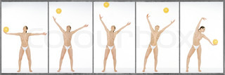©Dominique Douieb/AltoPress/Maxppp ; Semi-nude woman throwing and catching yellow ball, full length, image sequence