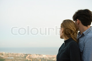 ©Eric Audras/AltoPress/Maxppp ; Couple embracing, looking at view