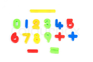 Numbers from 0 to 9 and some of mathematical signs in different colors on white