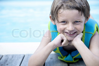 Image of 'leaning on elbows, swimming pools, kids'