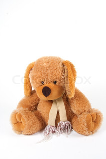 Brown teddy bear in front of white background