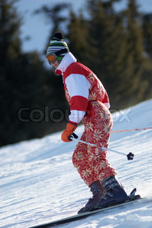 Ski girl in red