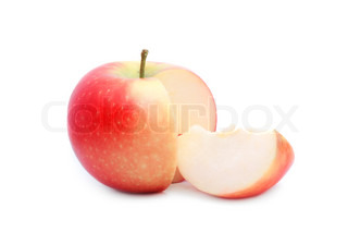 close up shot of red sliced apple isolated on white