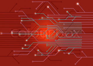Assembly diagram illustration on a red background