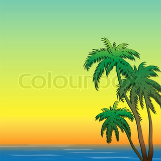 Tropical trees in the background seascape