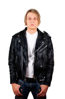 Portrait of a rebel type guy in classic leather jacket  against white background