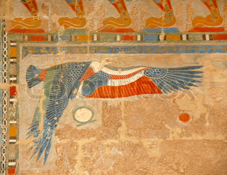 egyptian art, illustration of bird, on wall in Hatshepsut Temple