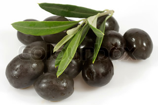 Black olives with olive branch on white background