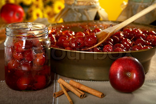 The process of making jam from paradise apples.