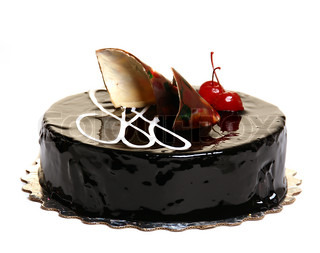 Chocolate cake decorated with cherries isolated on white background.