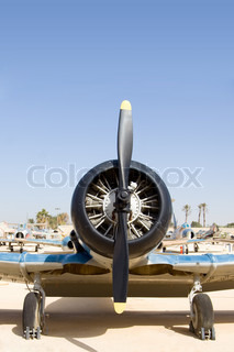Historical aircraft with black propeller
