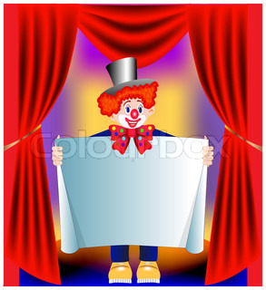 illustration young amusing clown with paper on background of the curtain