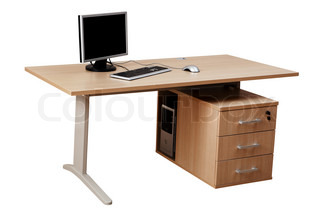 table and a modern computer on a white background