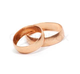 Zwei Gold- Ring isoliert auf weiß