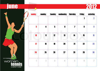 Calendar 2012 with woman tennis player image. June. Vector illustration