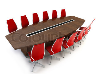 boardroom with table and chairs 3d rendering on white background