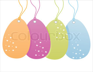 set of 4 colorful easter sale tags