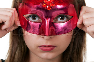 portrait girl in the red masquerade mask on a white background