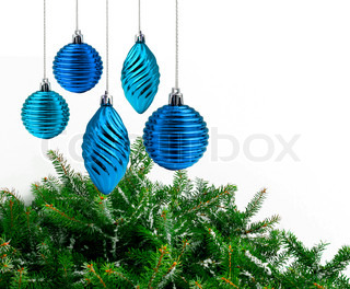 Blue Christmas decoration, green spruce branch