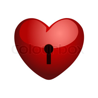 Heart on a lock.  Vector.