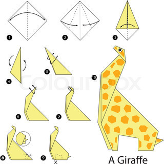 Step by step instructions how to make origami A Giraffe. | Vector ...