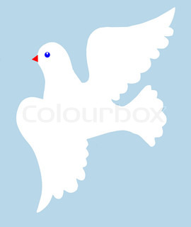 illustration of the dove on  blue background