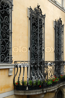 balcony and architectural details of building in Padua, Italy