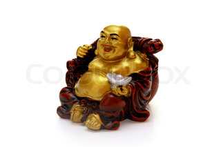 Laughing Buddha figurine isolated on white background.