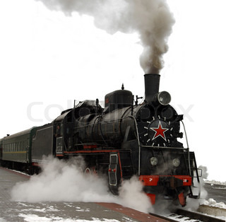 Ancient train with a steam locomotive